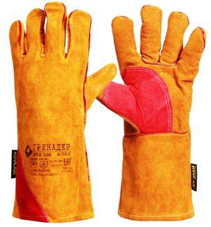 Краги спилковые ГРЕНАДЕР нить Кевлар, оранж. с красной накладкой дл.40 см, (КРА008)