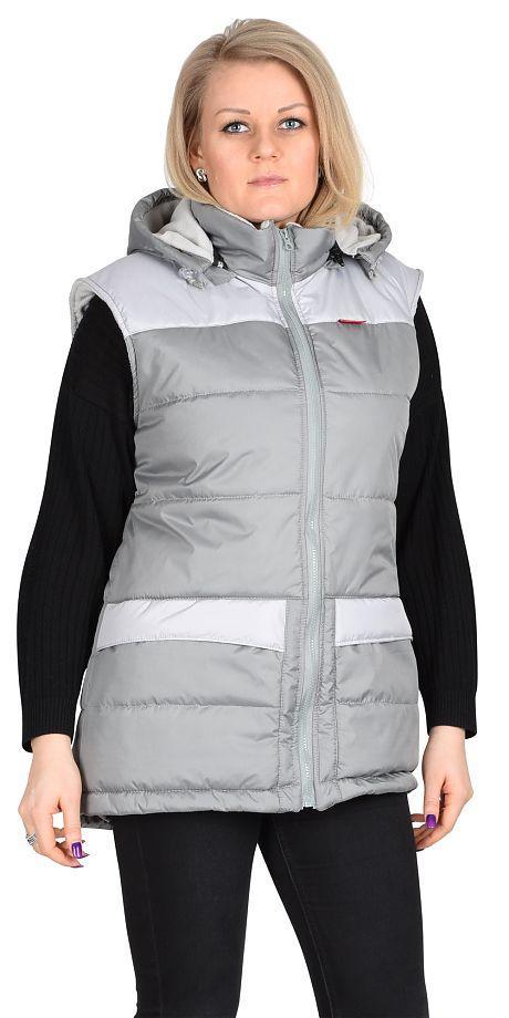 Жилет СИРИУС-ЕВРОНИКА утепленный, серый с капюшоном на подкладке (флис)