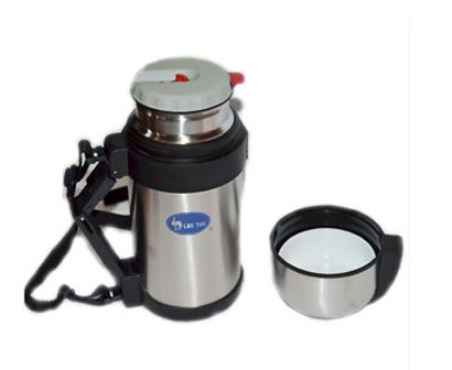 Термос LUO TUO с широким горлом, вакуумный. стальной, с миской, с ручкой, с ремешком, 1,8л (12шт)