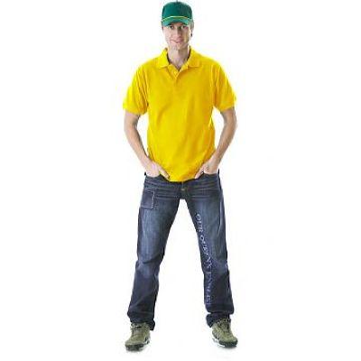 Рубашка-поло короткие рукава желтая, пл. 205 г/кв.м.