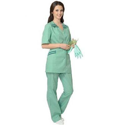 Костюм СИРИУС-Женева женский: куртка, брюки светлая мята с тёмно-зелёным (СТ)