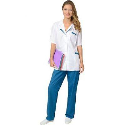 Костюм СИРИУС-ЛИЗА женский: куртка, брюки белый с тёмно-бирюзовым (СТ)