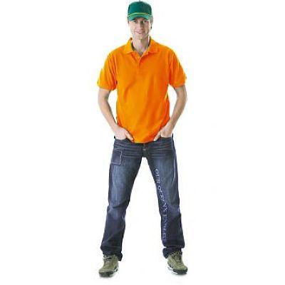 Рубашка-поло короткие рукава оранжевая, пл. 205 г/кв.м.
