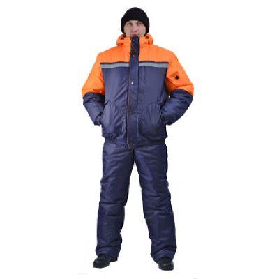 Костюм мужской Стим зимний т-синий с оранжевым