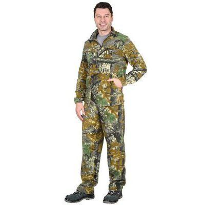 Костюм флисовый 260г/кв.м куртка, брюки КМФ Темный лес