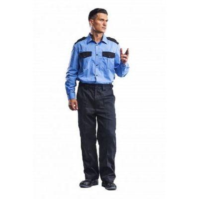 Рубашка Охранник голубой/черный (длинный рукав)  РУБ502
