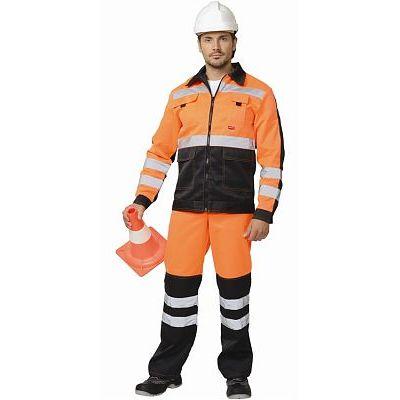 Костюм МАГИСТРАЛЬ-ЛЮКС: куртка, брюки оранжевый с чёрным и СОП