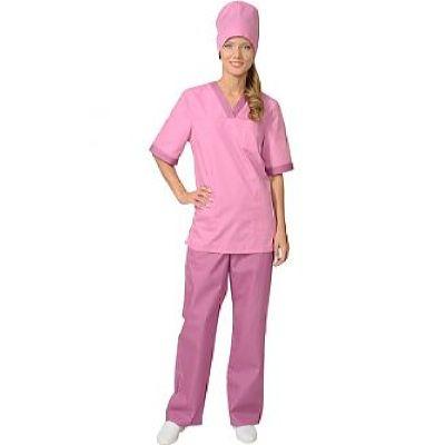 Костюм СИРИУС-СОФИЯ женский: куртка, брюки, колпак тёмно-розовый со сливовым (СТ)