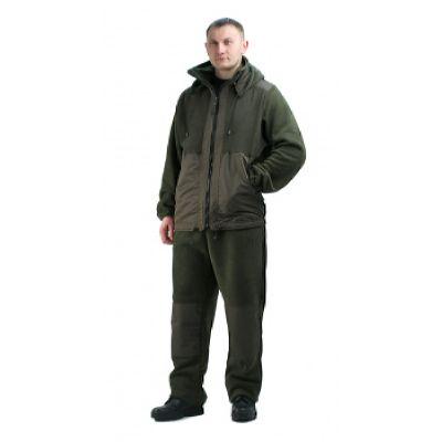 """Флисовый костюм """"Панда"""" тёмный хаки с накладками, 350 г/кв.м"""