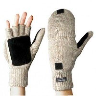 Перчатки-варежки со спилковыми накладками Иней