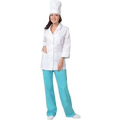 Костюм СИРИУС-ЖАСМИН женский: куртка, брюки, колпак белый со светло-бирюзовым