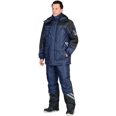 Костюм СИРИУС-ФОТОН зимний: куртка дл., брюки тёмно-синий с черным и СОП-25 мм.