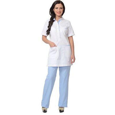 Костюм СИРИУС-ЭВИТА женский: блуза, брюки белый с голубым
