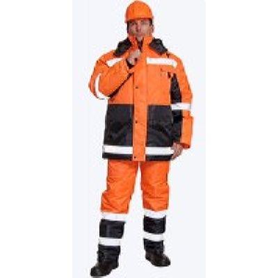Костюм МЕТЕОР (куртка + п\к, цвет: черный с оранж, с СОП)