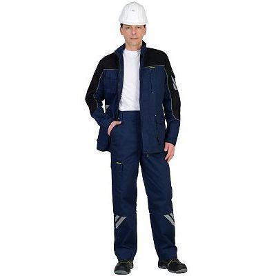 Костюм СИРИУС-ФОТОН мужской: куртка, брюки (темно-синий с черным) тк.Родос