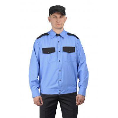 """Рубашка мужская """"Охрана"""" (дл. рукав) на резинке голубая с чёрным"""