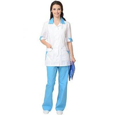 Костюм СИРИУС-МАРГО женский: куртка, брюки белый с голубым