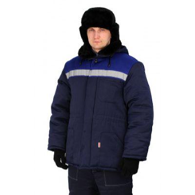 Куртка УРАЛ утепленная т. синий/васильковая кокетка