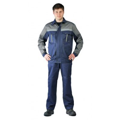 Костюм мужской Оптимальный летний с брюками т.синий/серый