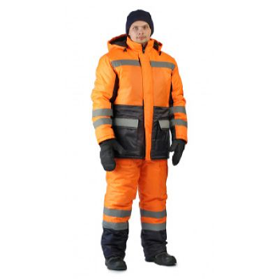 Костюм зимний СКАНДИН-ДОРОЖНЫЙ куртка/полукомб. цвет: оранжевый/т.синий