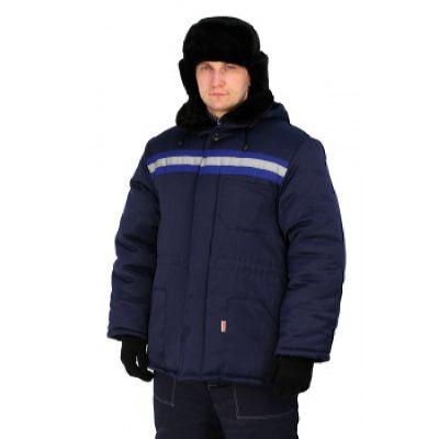 Куртка мужская Урал зимняя с мех. воротником т-синяя с васильковым