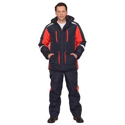 Костюм СИРИУС-Сатурн зимний: куртка дл.,брюки т.синий с красным и СОП 50 мм