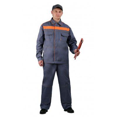 Костюм мужской Актуал  летний с п/к серый с оранжевым  100% хлопок