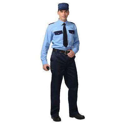 Рубашка Охранника дл. рукав (тк. Вега) голубая с т.синим