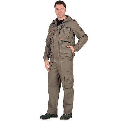 Костюм СИРИУС-Канвас летний: куртка кор., брюки ткань 100% х/б, КМФ Темный песок