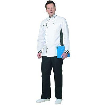 Китель СИРИУС-Шеф мужской белый с отделкой черно-белая клетка
