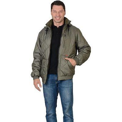 Куртка СИРИУС-Прага-Люкс мужская с капюшоном, оливковая