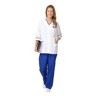 Костюм СИРИУС-ОЛЬГА женский: куртка, брюки белый с васильковым