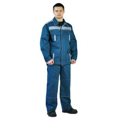 Костюм мужской Актуал летний с брюками бирюзовый с серо-голубым  100% хлопок