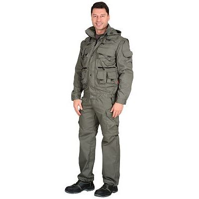 Костюм СИРИУС-Тигр Оливковый: куртка, брюки, жилет, шорты, 20 карманов!