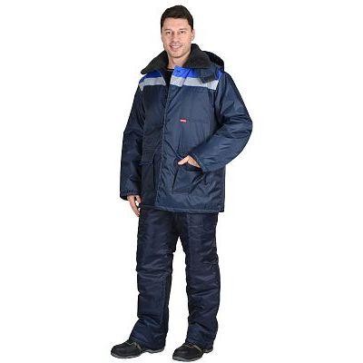 Костюм СИРИУС-СТРОЙГРАД зимний: куртка длинная., брюки темно синий с васильковым и СОП