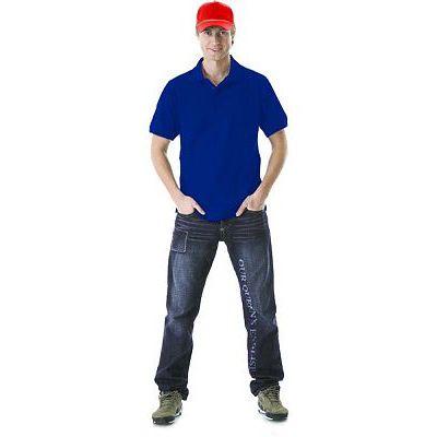 Рубашка-поло короткие рукава васильковая, пл. 205 г/кв.м.