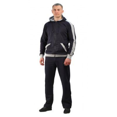 Костюм трикотажный ТИР-2 т-синий с серым (куртка + брюки 100%х/б)