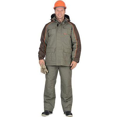 """Костюм """"СИРИУС-Кобальт"""" : куртка, брюки, оливковый с темно-коричневым"""