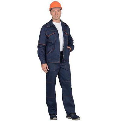Костюм СИРИУС-ПРОФИ-2 куртка, брюки (100% узбекская саржа) синий с  оранжевым кантом