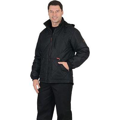 Куртка СИРИУС-ПРАГА-Люкс мужская, с капюшоном, черный