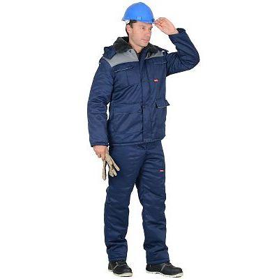 """Костюм """"Профессионал"""" зимний:куртка дл.,п/комбинезон синий с серым"""