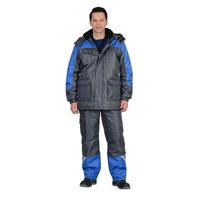 Костюм СИРИУС-ФОТОН зимний: куртка дл., брюки тёмно-серый с васильковым и СОП-25 мм.