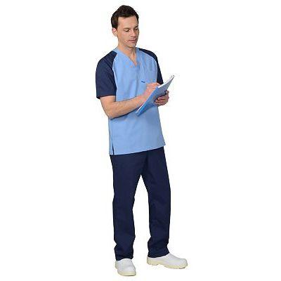 Костюм СИРИУС-ИНТЕРН мужской: куртка, брюки, тёмно-синий с голубым