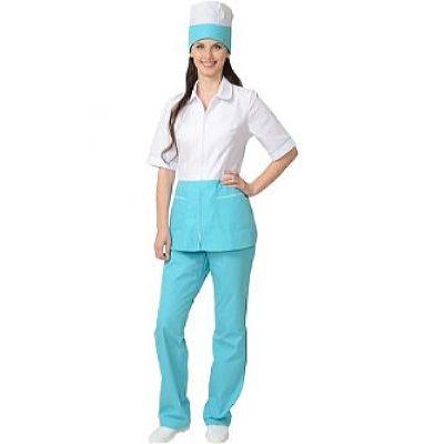 Костюм СИРИУС-СТЕФАНИ женский: куртка, брюки, колпак белый со светло-бирюзовым