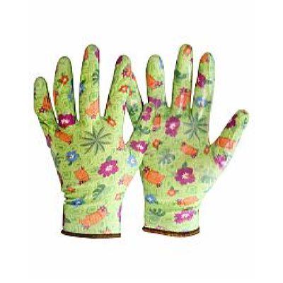 Перчатки САДОВЫЕ зеленые (100%нейлон 13-го кл. вязки,с принтом,покрытие-прозр.нитрил),в уп120пар