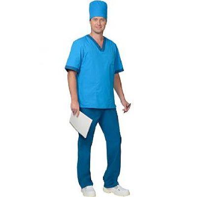 Костюм СИРИУС-РЕАЛ мужской: куртка, брюки, колпак светло-синий с бирюзовым