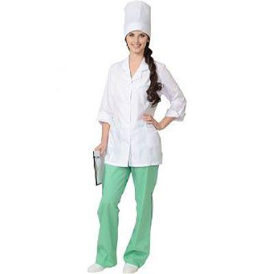 Костюм СИРИУС-ЖАСМИН женский: куртка, брюки, колпак белый с салатовым