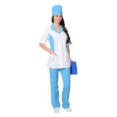 Костюм СИРИУС-ФЛОРЕНЦИЯ женский: куртка, брюки, колпак белый с голубым