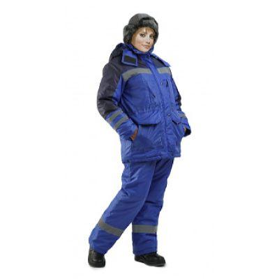 Костюм женский Зимник зимний васильковый с темно-синим