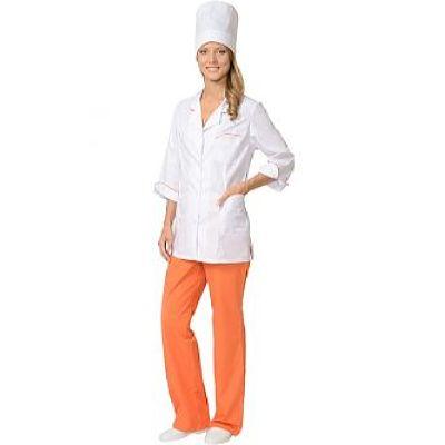 Костюм СИРИУС-ЖАСМИН женский: куртка, брюки, колпак белый с оранжевым